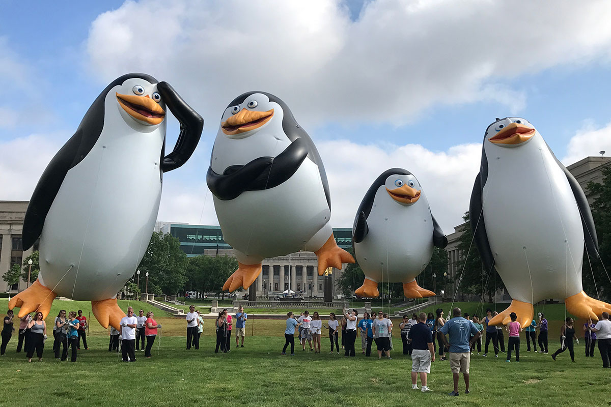 helium parade balloons - penguins of madagascar